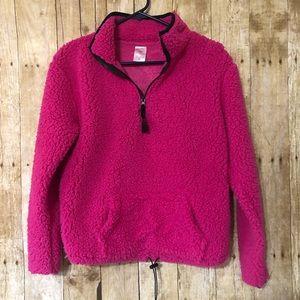 {NB} semi- cropped Sherpa pullover